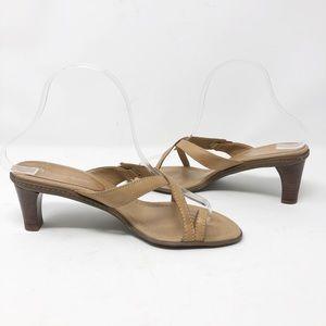 ETIENNE AIGNER Tan Leather Sandal Heels - Size 7.5